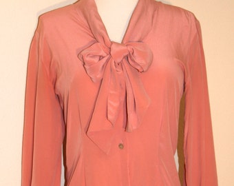 Vintage 1980s Pale Coral Silk Bow Blouse, Vintage Blouses, Vintage Clothing, Vintage Fashion