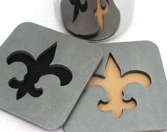 Fleur-de-lis Coasters, Steel, Metal, Set of 4