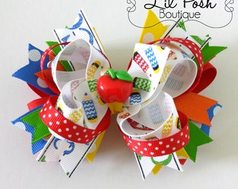 Back to School Hairbow Primary Colors Apple Back to School Outfit Boutique Hairbow