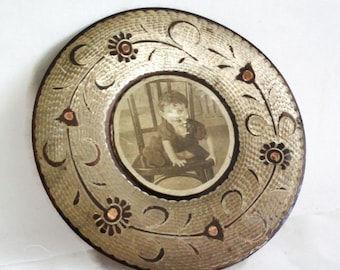 Childhood memories. Vintage copper wall hanging plate. Upcycled with old photo of cute boy, Etched metal, handmade floral etching, Innocence