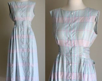 SALE: Vintage 80s Plaid Dress - Long Mint and Pink Sleeveless Button Front Jumper - Pastel Midi Dress with Pockets - Size Medium / Large