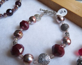 Red Glass Pearl and crystal bracelet.