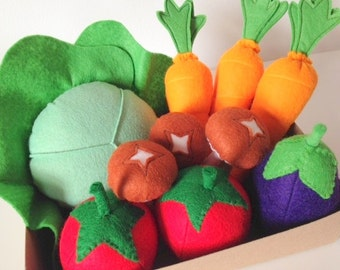 Pretend Play Felt Food Garden Vegetable Box, Carrots, Cabbage, Tomatoes, Mushrooms, Egg Plant
