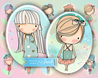 SWEET girl - oval image - 30 x 40 mm or 18 x 25 mm - digital collage sheet  - Printable Download