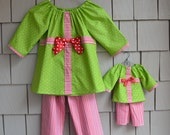 RESERVED - For Jen - Girls' Christmas Pajama Set - Red and Green - Made to Order - Matching American Girl Doll Outfit