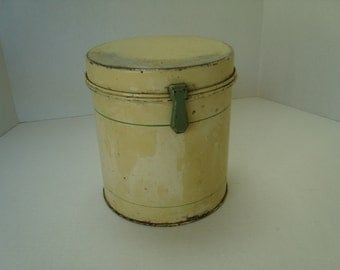 Vintage Tin Canister in Yellow and Green
