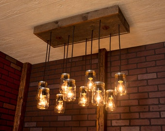Mason Jar Chandelier With Reclaimed Wood and 10 Pendants.      R-1434-CMJ-10
