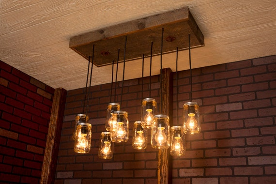 Mason Jar Chandelier With Reclaimed Wood And 10 Pendants