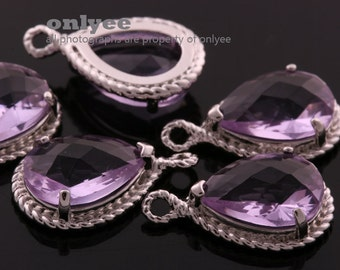 2pcs-19mmX12mmRhodium Faceted tear drop glass with rope rim pendants-Amethyst(M316S-I)