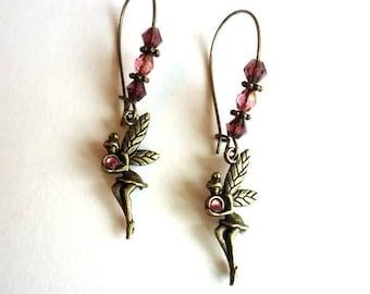 Fairy Earrings, Rose Pink earrings, Drop earrings, Dangle earrings, dainty earrings, vintage earrings, girly earrings, fairy tale earrings