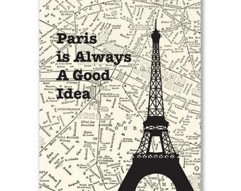 Paris Eiffel Tower Print 8x10 - Paris Always a Good Idea - Vintage Map