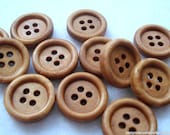 15mm Plain Wood Buttons Pack of 25 Coffee Brown Buttons W1503