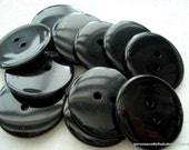 23mm Black Resin Button Pack of 12 Large Black Buttons A126