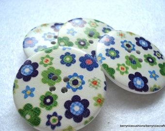 40mm Wood Button White with Blue Green Flower Print Pk of 5 Very Big Buttons W4026