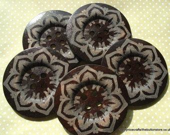 60mm Dark Wood Buttons Etched Pattern Pack of 3 6cm Wood Buttons W609
