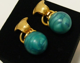 Vintage Gold Tone Clip Earrings with Pearlized Kelly Green Lucite Bead