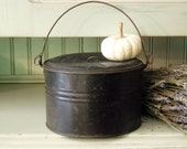 Reserved for Chana ONLY / Vintage Rustic Industrial Black Lunch Box / Pail with Handles and Lid / Halloween Pail