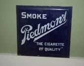 Antique Piedmont Cigarettes Double-Sided Porcelain Advertising Sign