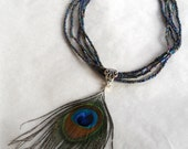 Beaded Necklace with Peacock Feather Pendant
