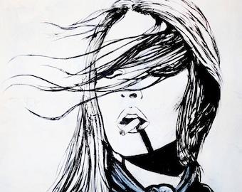 Police Woman Smoking Fine Art Print Black Amp White Art Wall