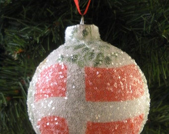 Denmark Flag glass glitter ornament
