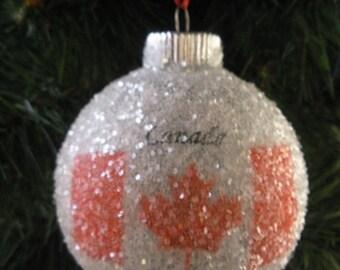 Canada Flag glass glitter ornament