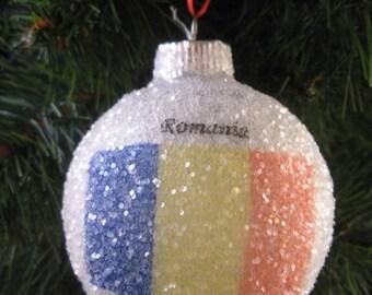 Romania Flag glass glitter ornament