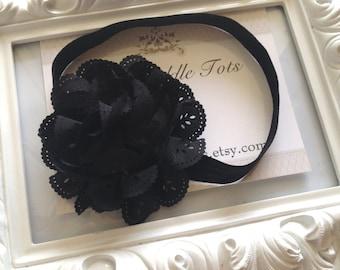 Black Eyelet Lace Headband, Shabby Chic, Vintage Flower Headband, Baby Girl Headbands, Newborn Headband, Infant Headband, Photo Prop
