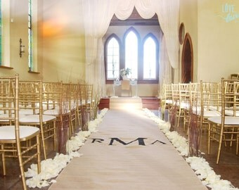 20ft burlap wedding aisle runner with custom monogram initials non slip slip free