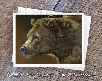 Wildlife Note Cards - Grizzly Bear Note Cards - Grizzly Bear Prints - Wildlife Art - Wildlife Stationary