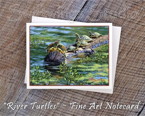 Turtle Note Cards - Turtle Prints - River Wildlife - Ozarks Wildlife - River Turtle Prints