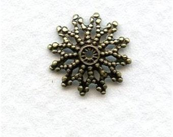 4 Small Round Antique Brass Flower Filigrees 12mm -  FB0088