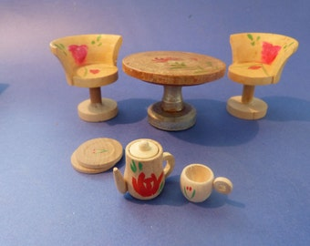 TABLE, 2 CHAIRS & TEASET from unknown maker