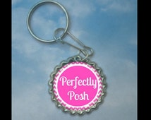 Independant Consultant keychain--- Perfectly Posh---Pink, pink chevron, give aways, door prize,  CM, hostess, thank you gift