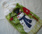 Tea Towel Snowman Cardinal and Birdhouse with Crocheted Hanging Topper