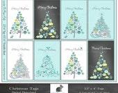 """Digital Download Mixed Christmas Tags - Digital Instant Download (8.5 """"x 11"""" Sheet)  8 (2.5"""" x 4"""" Tags)  Digital Holiday Tags"""