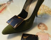 50s 60s Tortoise-esqe Square Shoe Clips.