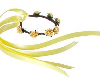 Boho Floral Garland for Hair Buns - YELLOW ROSE