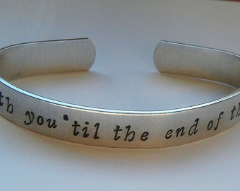 Captain America With You Til The End of The Line Hand Stamped Bracelet - Captain America Jewelry The Winter Soldier Stucky Bracelet CAtWS