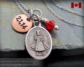 Infant of Prague Charm, Necklace, Custom Baptism Gift, Catholic Jewelry, Confirmation Gift Personalized, STERLING Silver Chain