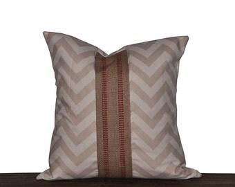 "18 Inch Khaki Chevron Throw Pillow Cover 18x18"" Zig Zag Khaki and Natural with Burlap Jute Stripe"