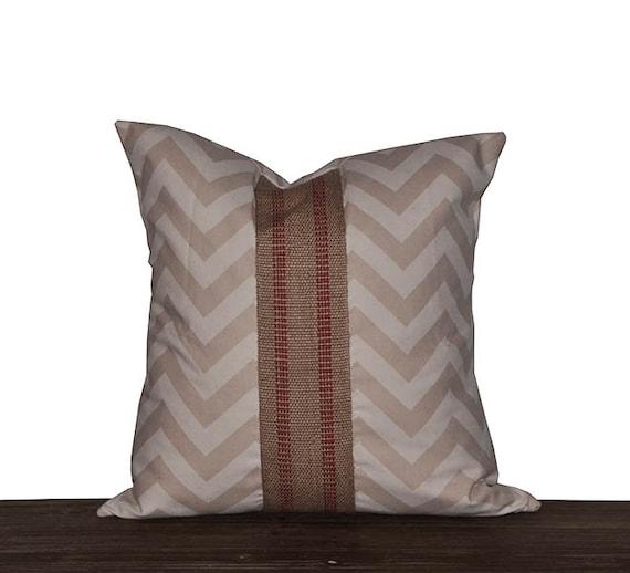 20 Inch Throw Pillow Covers : 20 Inch Khaki Chevron Throw Pillow Cover Farmhouse Pillow