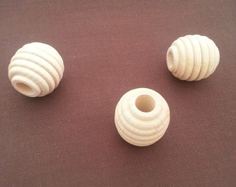 Set of 10 Natural Wooden 1 1/4 inch 1.25 inch Wooden Hive Beads Maple Hardwood 31.75mm