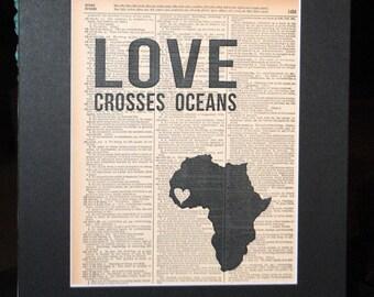 Love Crosses Oceans (Sierra Leone) - Vintage Adoption Word  Art