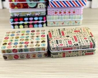 Tin Box - Storage Box - Sewing Box - Gift Packing - Gift Tins - number - round