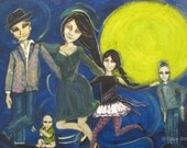 Happy Family in the Afterlife Original Painting--Dancing in the Moonlight