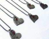 Morse Code Love Heart Necklace with Garnet - Ready to Ship for Valentine's Day