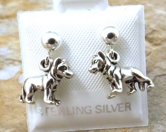 Sterling Silver Petite German Shepherd Stud Earrings on Sterling Silver 4mm Ball Posts - 3060