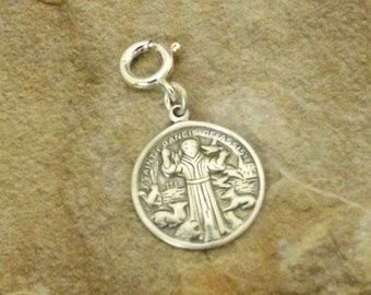 Sterling Silver Saint Francis of Assisi Charm-Fits European and Link Charm Bracelets - 1388