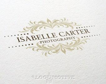Premade Logo Design Photography Business Logo Watermark Design Scroll Logo Wedding Logo Retro Logo Ornate Floral Blog Logo